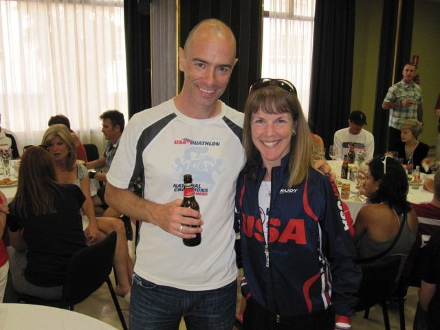 Fellow Duathlete from Arizona. He arrived at the party with a pizza, which made him very popular.